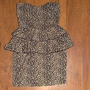 Love culture leopard tube dress padded bust peplum